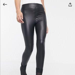 ASOS petite black leather leggings
